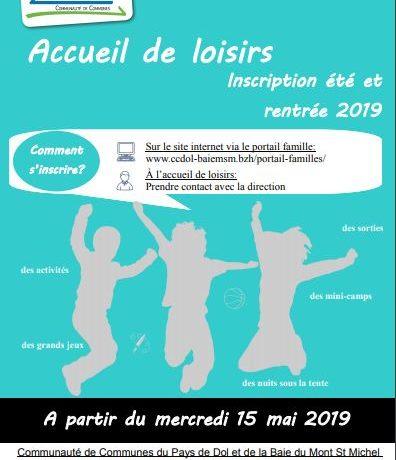 Lancement inscription été 2019 – Accueil de loisirs de Pleine-Fougères